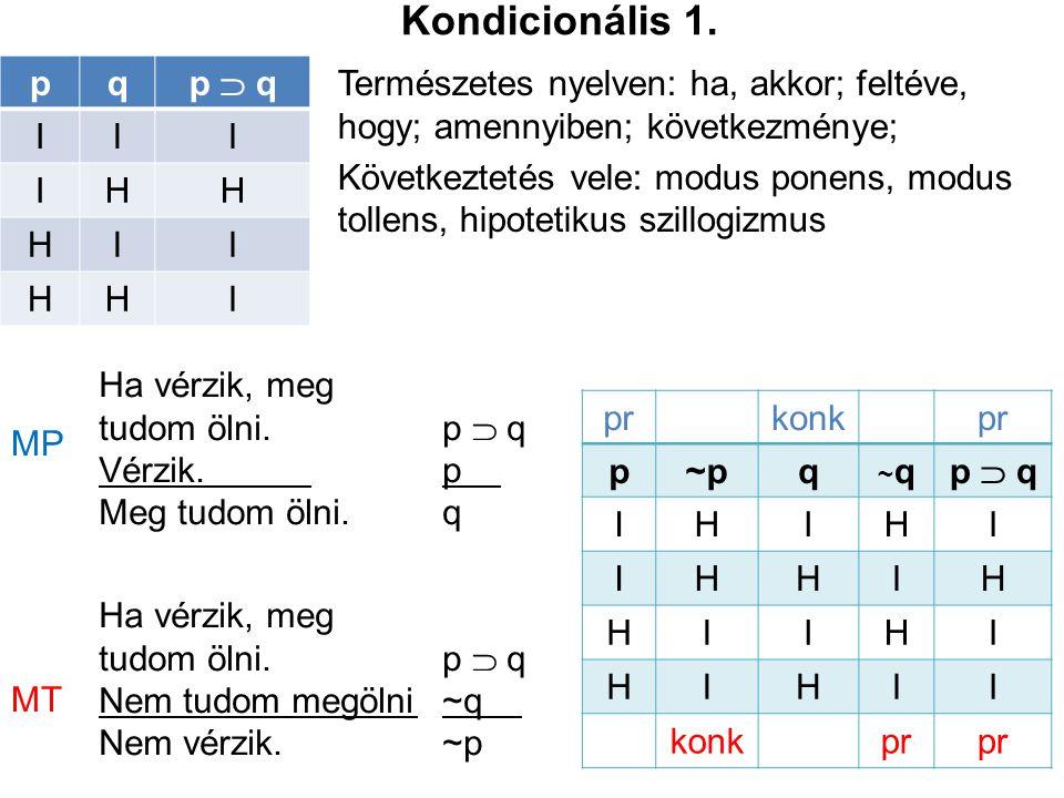 Kondicionális 1. p q p  q I H