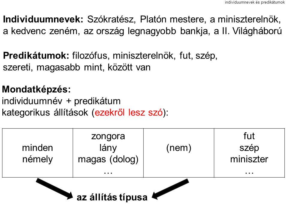 individuumnevek és predikátumok