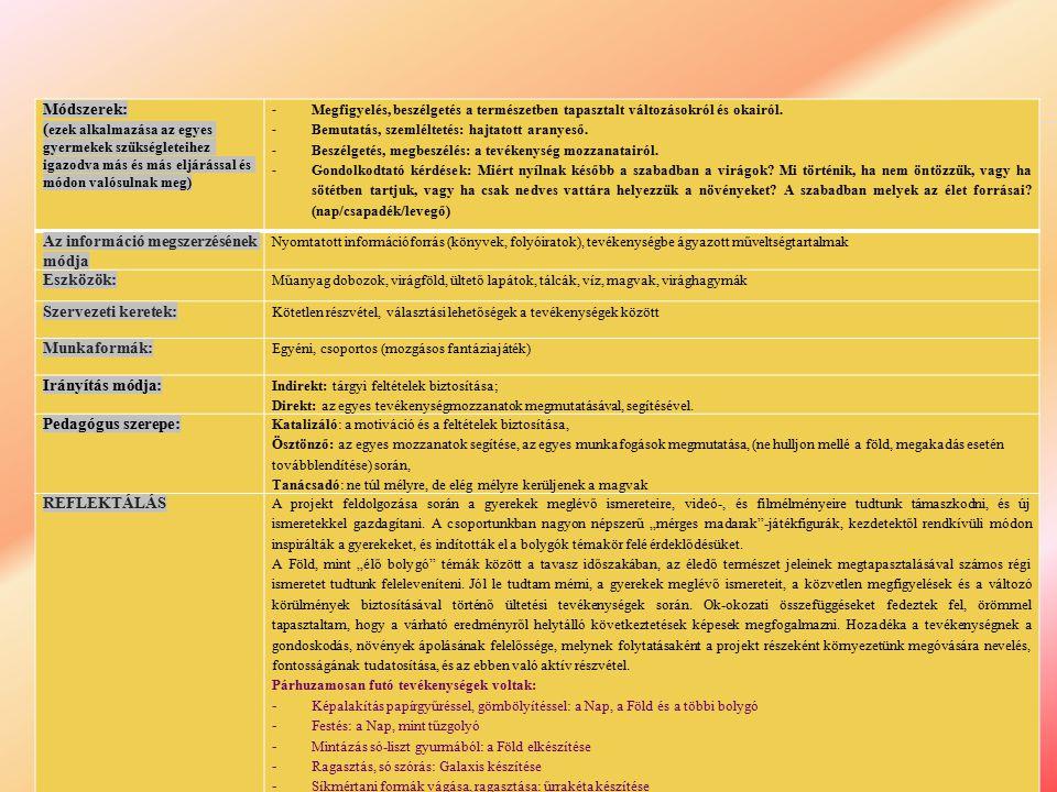 Az információ megszerzésének módja Eszközök: Szervezeti keretek: