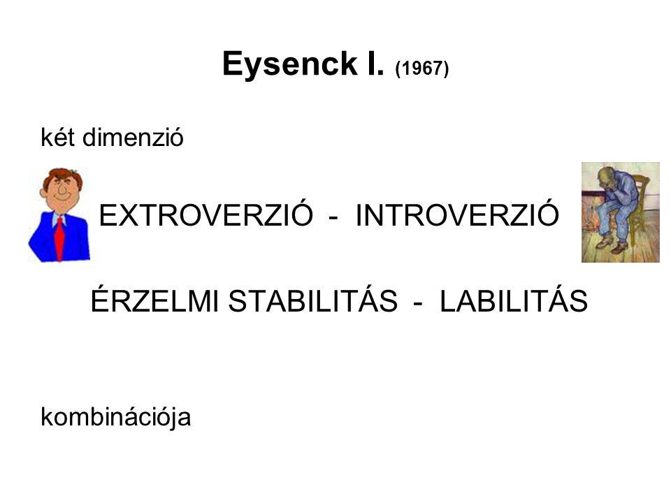 Eysenck I. (1967) EXTROVERZIÓ - INTROVERZIÓ