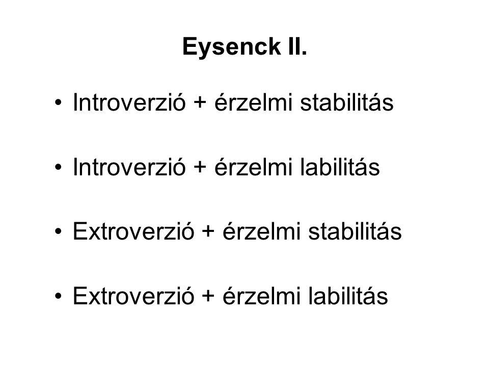 Eysenck II. Introverzió + érzelmi stabilitás. Introverzió + érzelmi labilitás. Extroverzió + érzelmi stabilitás.