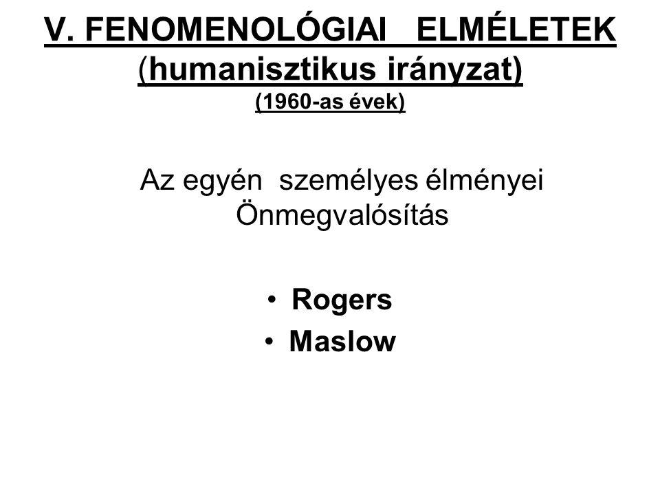 V. FENOMENOLÓGIAI ELMÉLETEK (humanisztikus irányzat) (1960-as évek)