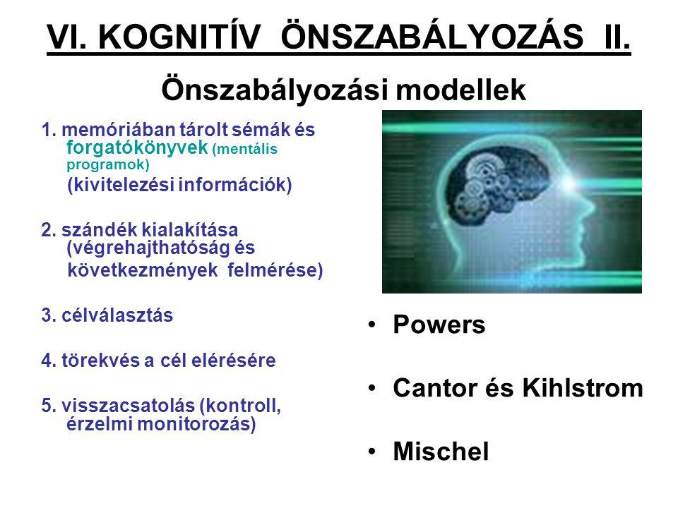 VI. KOGNITÍV ÖNSZABÁLYOZÁS II. Önszabályozási modellek