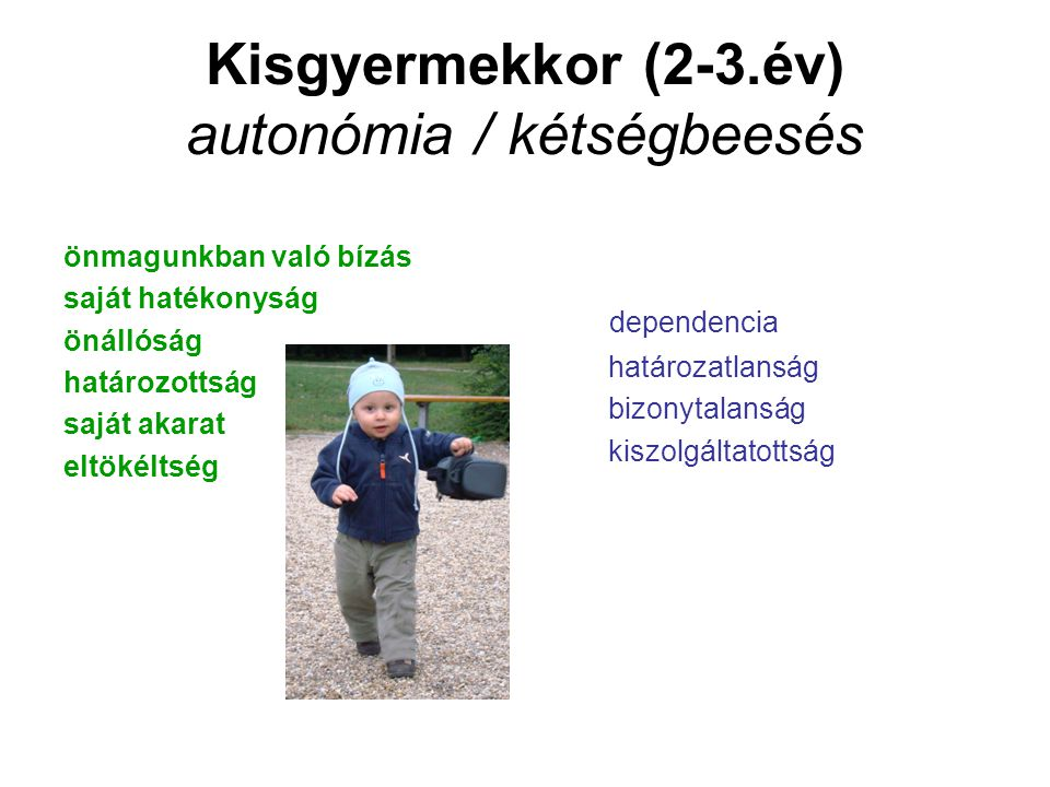 Kisgyermekkor (2-3.év) autonómia / kétségbeesés