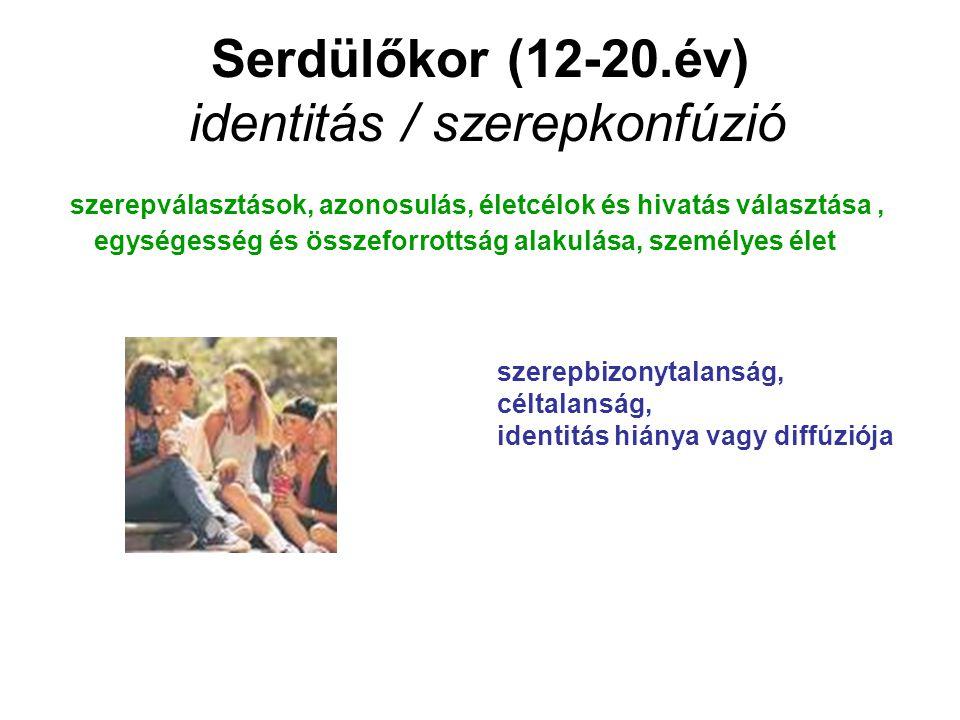 Serdülőkor (12-20.év) identitás / szerepkonfúzió