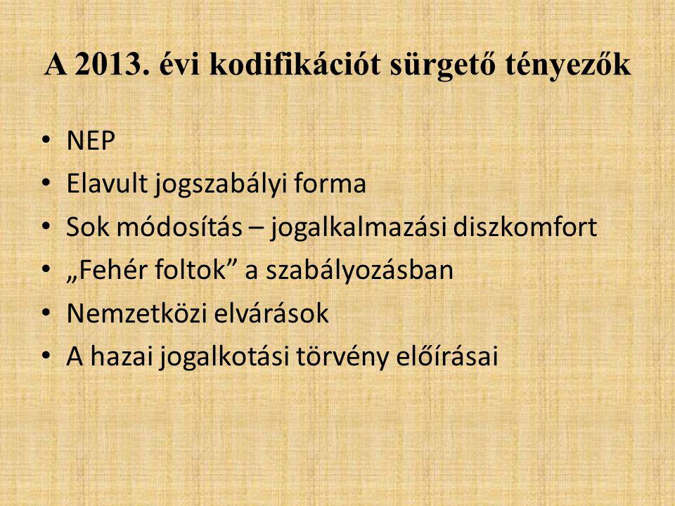 A 2013. évi kodifikációt sürgető tényezők