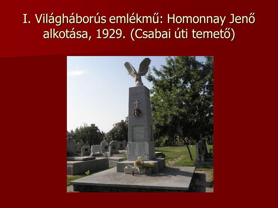 I. Világháborús emlékmű: Homonnay Jenő alkotása, 1929