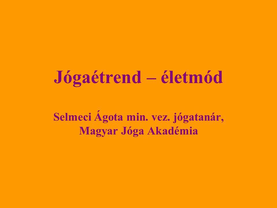 Jógaétrend – életmód Selmeci Ágota min. vez
