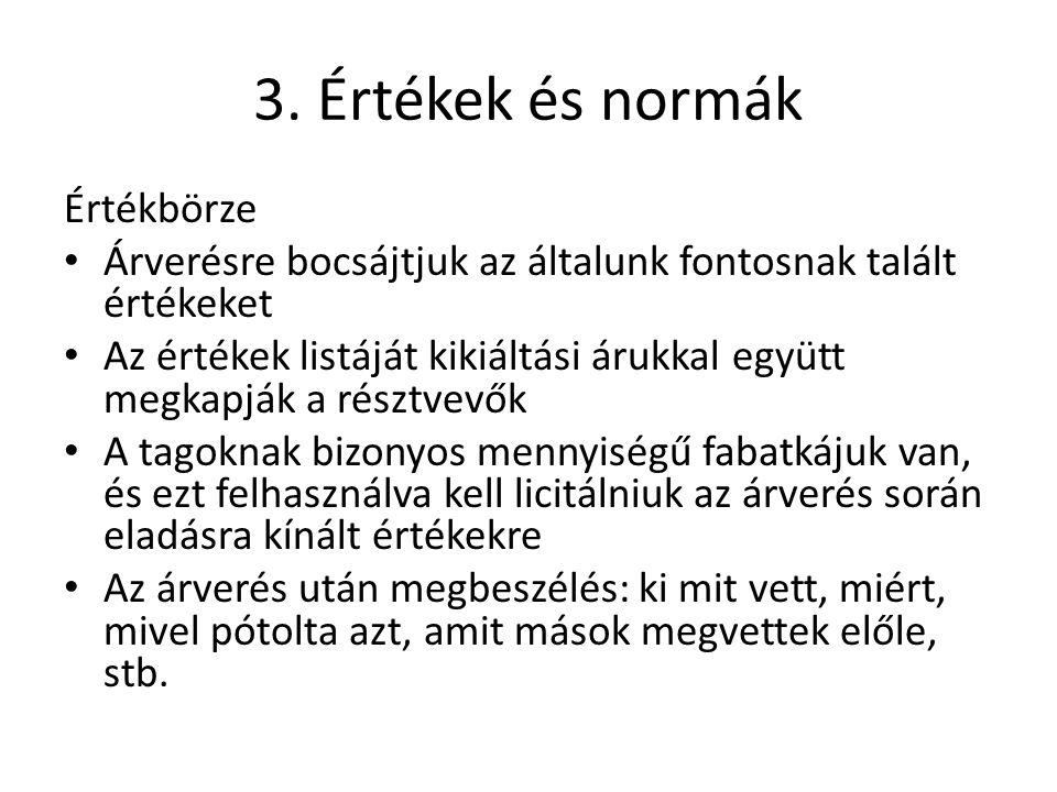 3. Értékek és normák Értékbörze