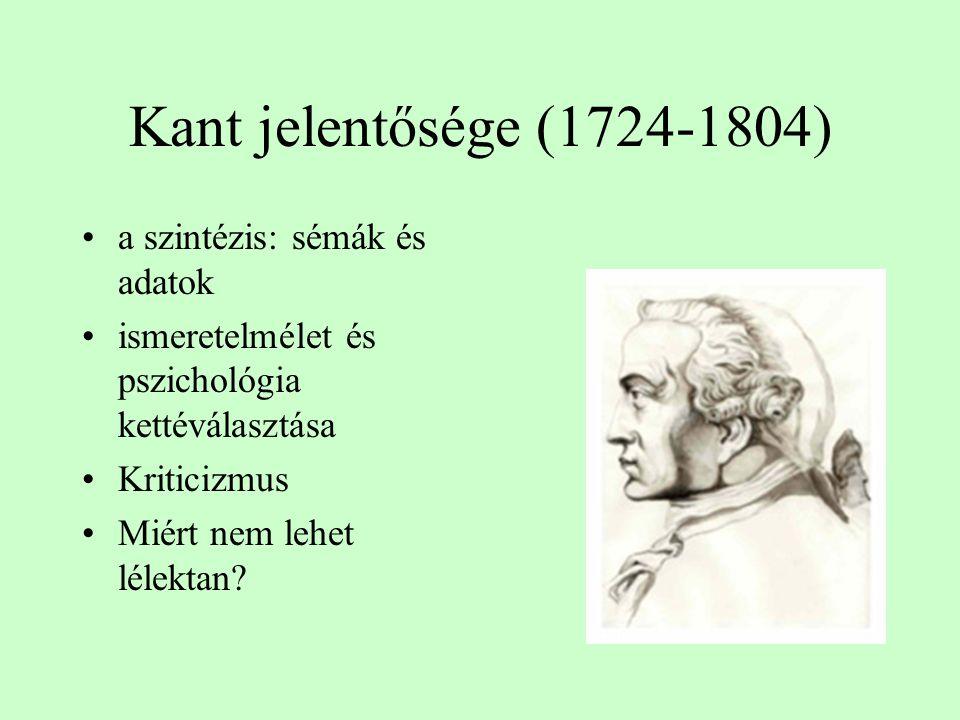 Kant jelentősége (1724-1804) a szintézis: sémák és adatok