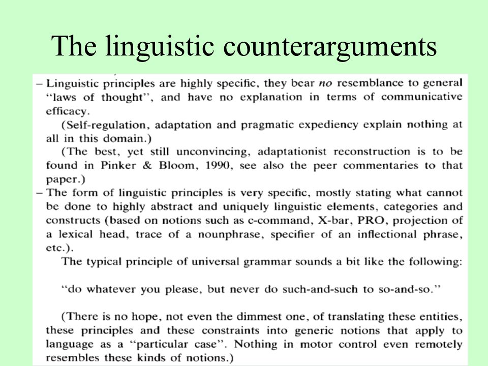 The linguistic counterarguments