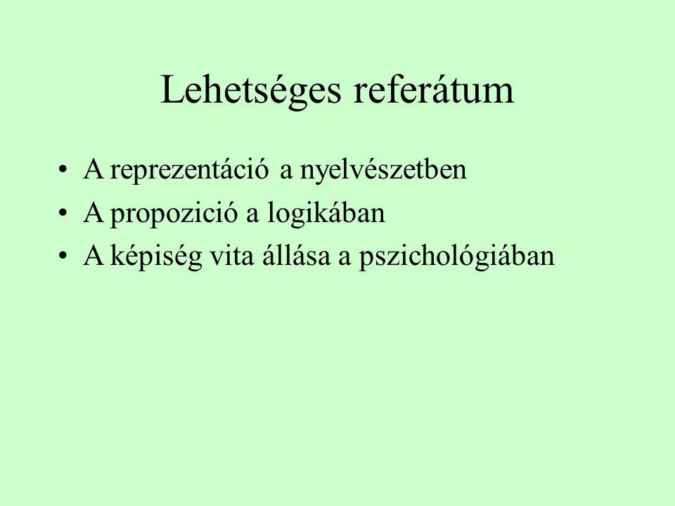 Lehetséges referátum A reprezentáció a nyelvészetben