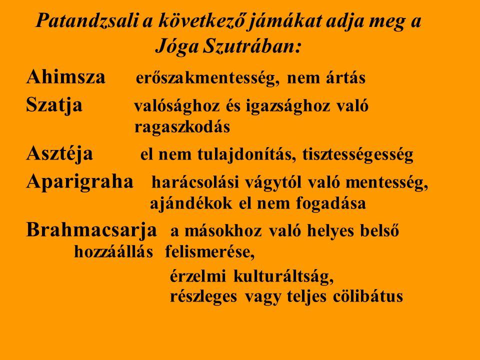 Patandzsali a következő jámákat adja meg a Jóga Szutrában: