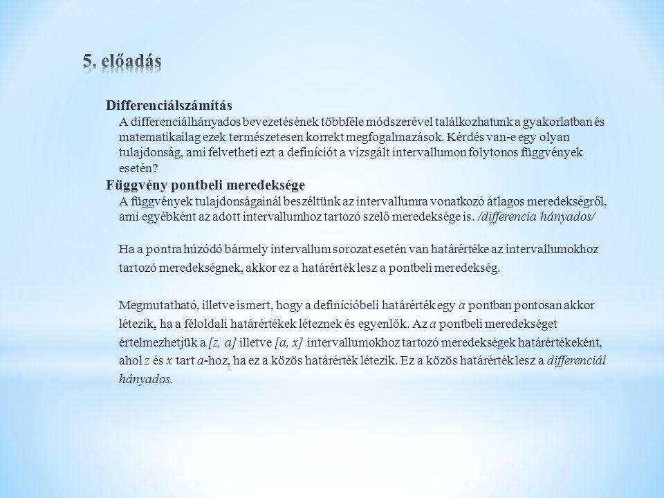 5. előadás Differenciálszámítás Függvény pontbeli meredeksége