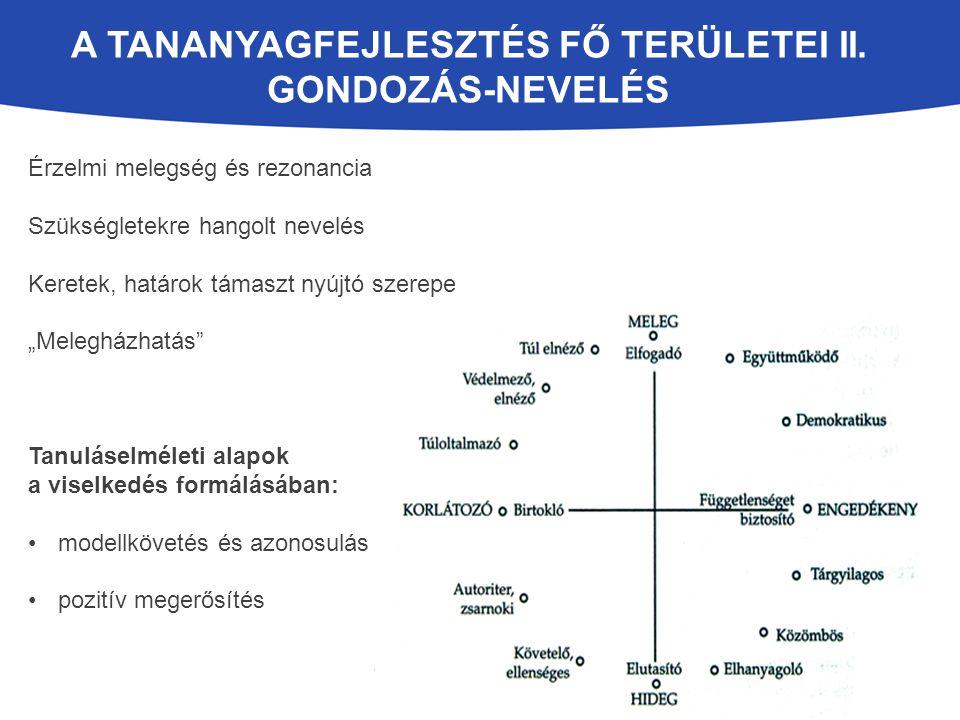 A tananyagfejlesztés fő területei II. gondozás-nevelés