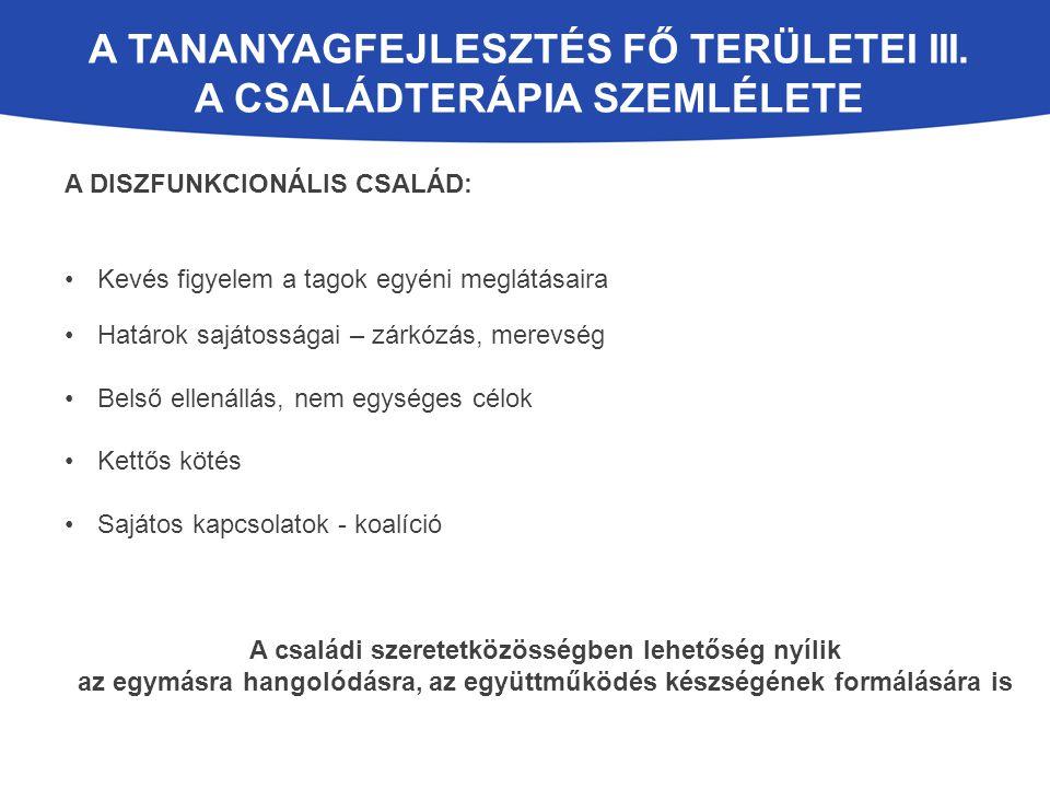 A tananyagfejlesztés fő területei III. A családterápia szemlélete