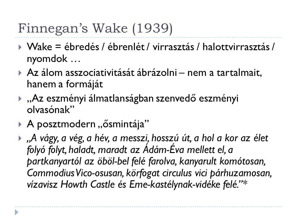 Finnegan's Wake (1939) Wake = ébredés / ébrenlét / virrasztás / halottvirrasztás / nyomdok …