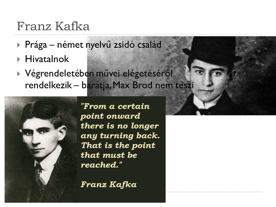 Franz Kafka Prága – német nyelvű zsidó család Hivatalnok