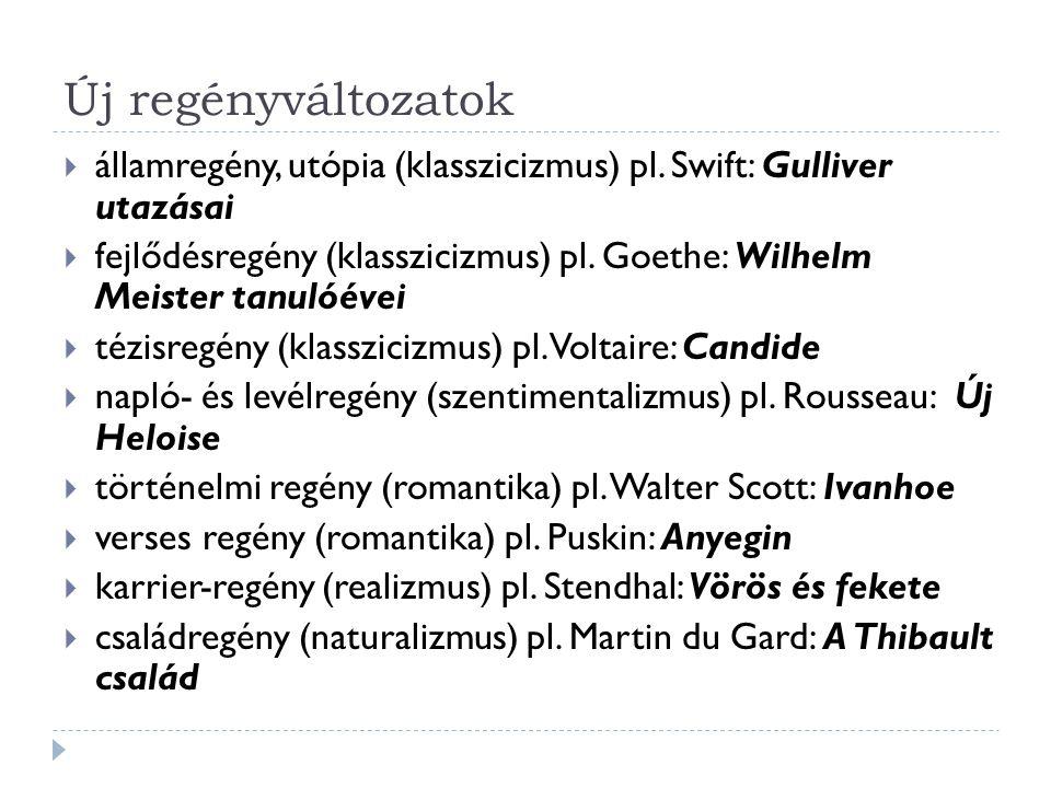 Új regényváltozatok államregény, utópia (klasszicizmus) pl. Swift: Gulliver utazásai.
