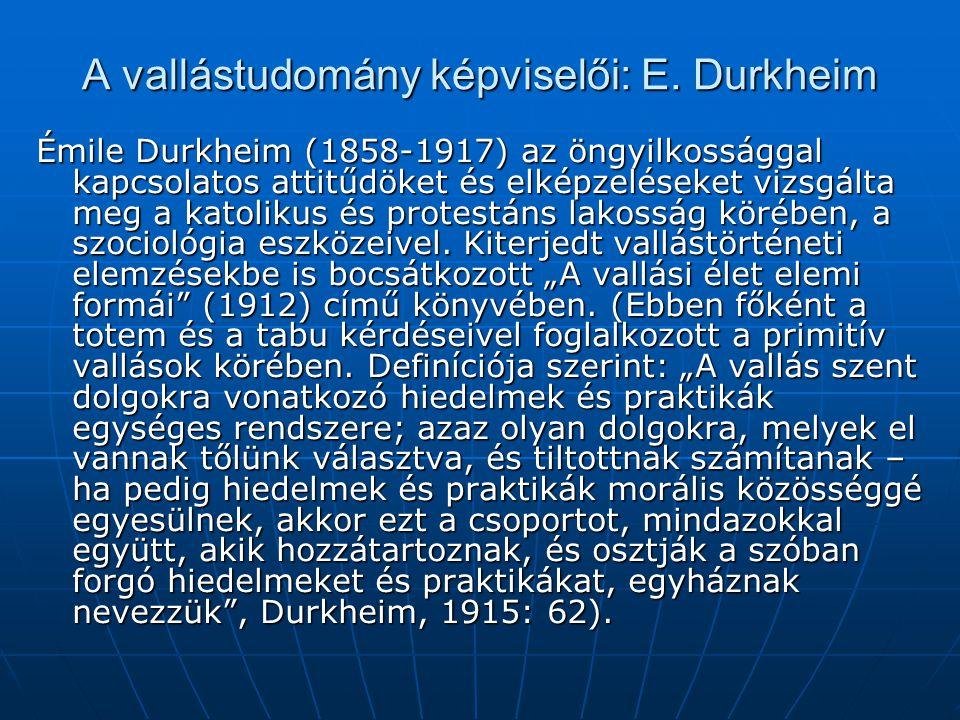 A vallástudomány képviselői: E. Durkheim