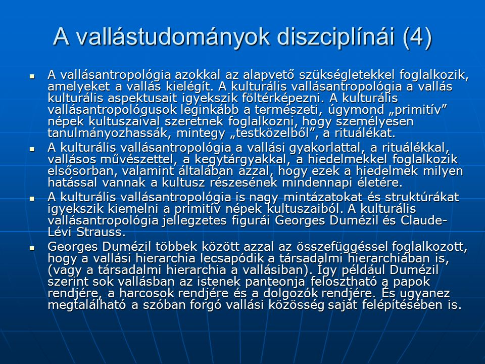 A vallástudományok diszciplínái (4)