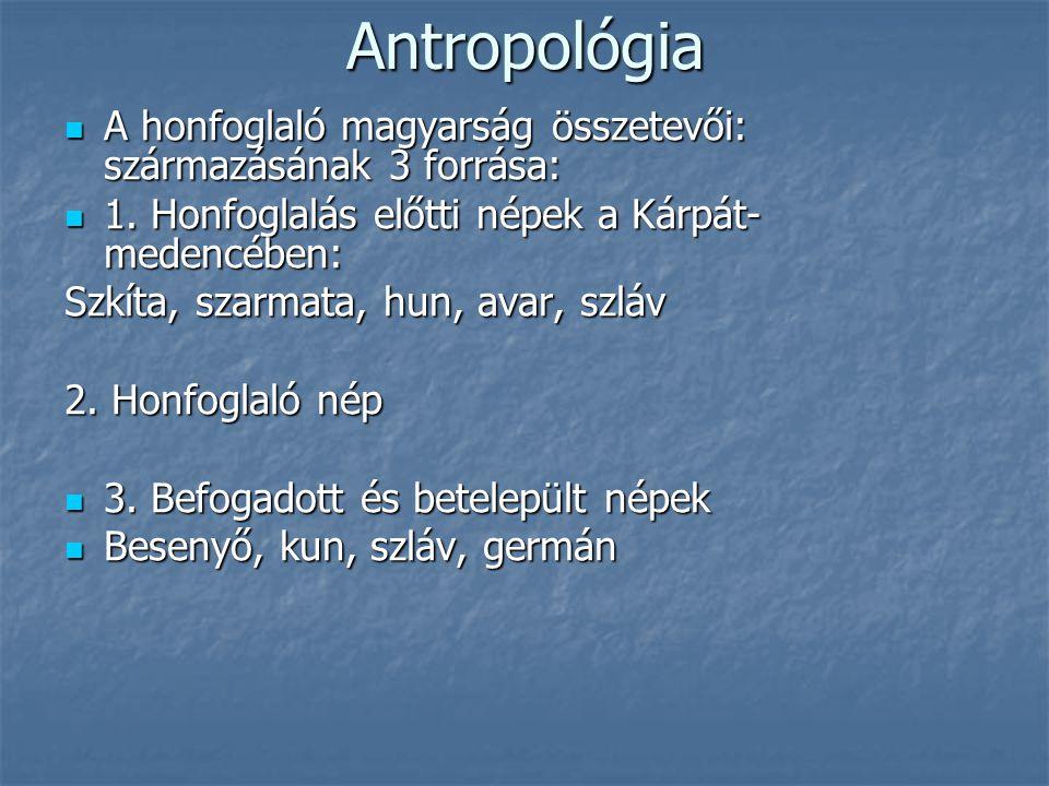 Antropológia A honfoglaló magyarság összetevői: származásának 3 forrása: 1. Honfoglalás előtti népek a Kárpát-medencében: