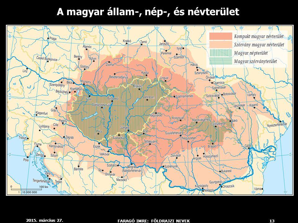 A magyar állam-, nép-, és névterület FARAGÓ IMRE: FÖLDRAJZI NEVEK
