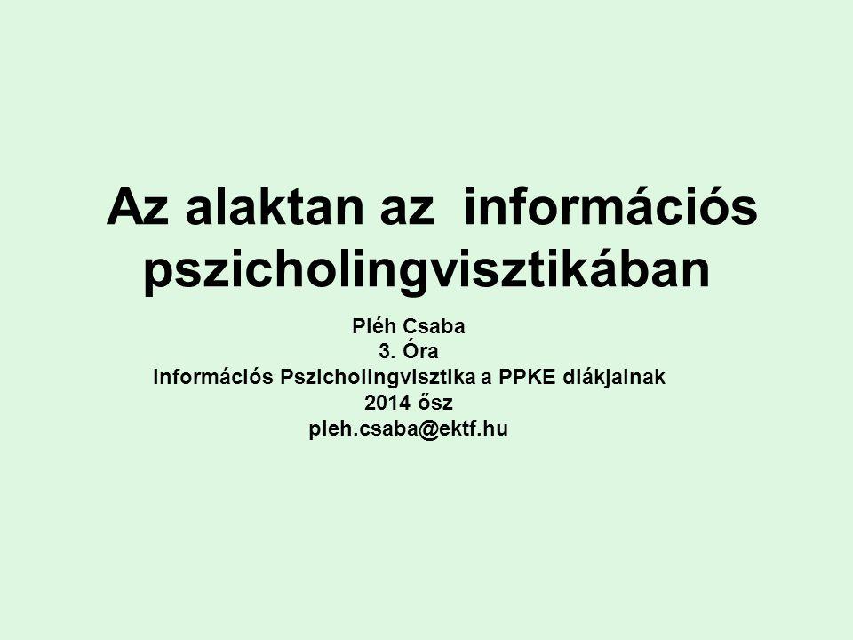 Az alaktan az információs pszicholingvisztikában