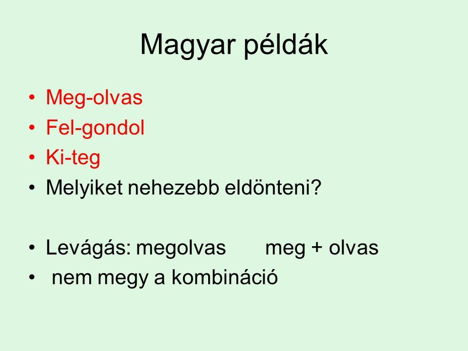 Magyar példák Meg-olvas Fel-gondol Ki-teg Melyiket nehezebb eldönteni