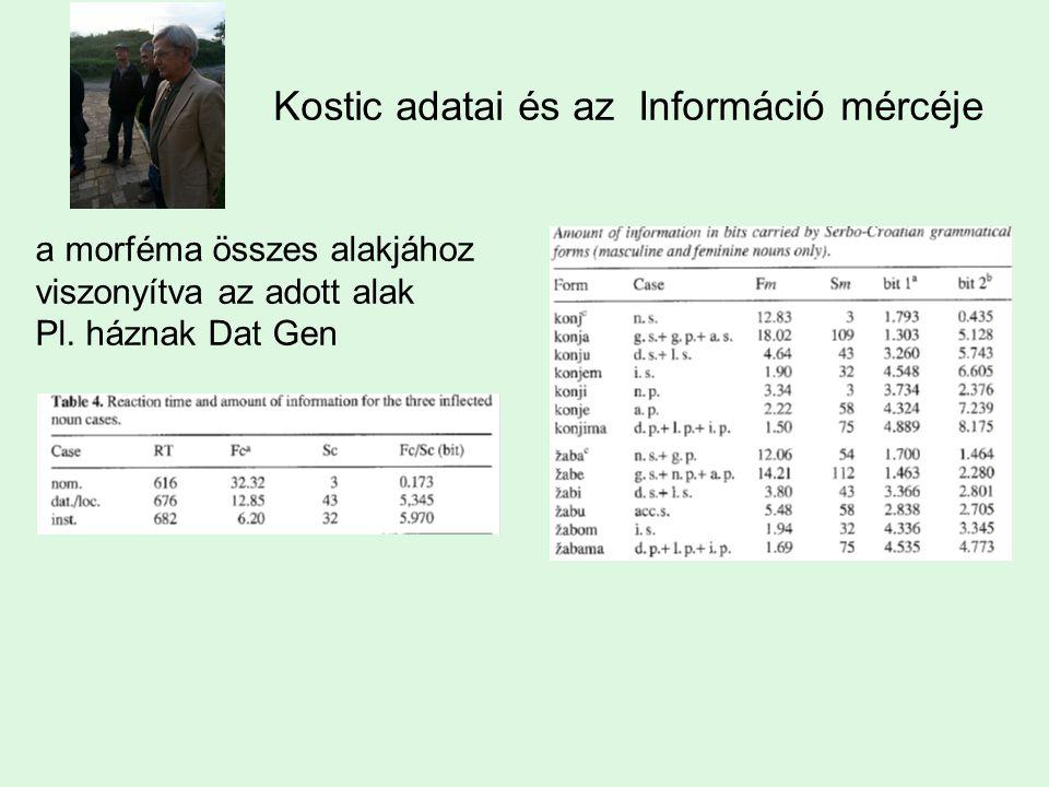 Kostic adatai és az Információ mércéje