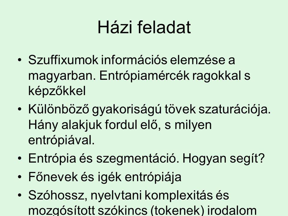 Házi feladat Szuffixumok információs elemzése a magyarban. Entrópiamércék ragokkal s képzőkkel.