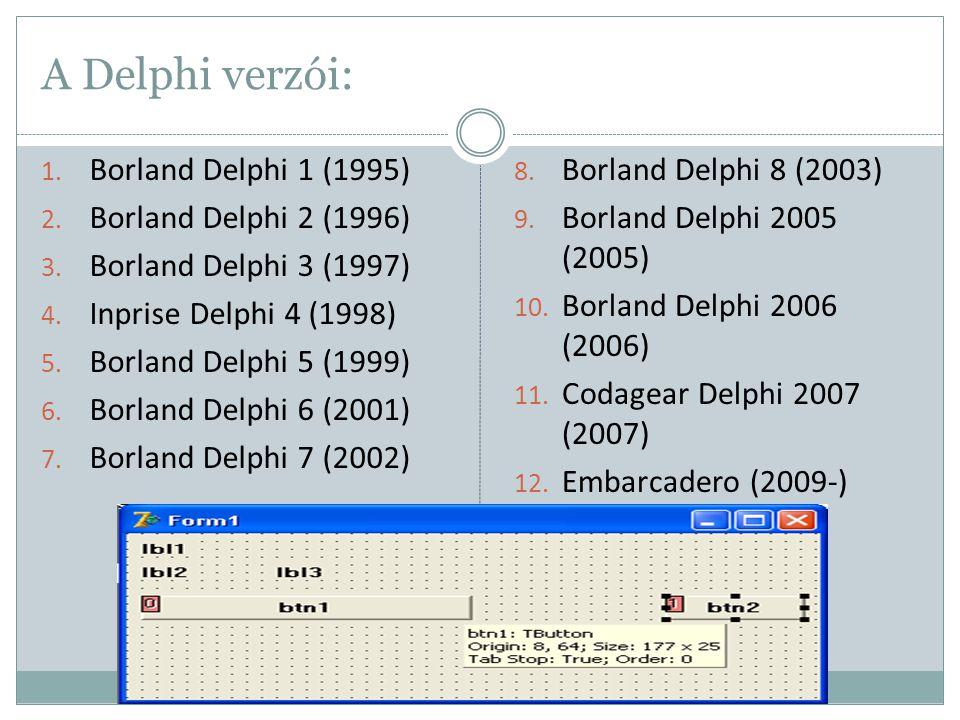 A Delphi verzói: Borland Delphi 1 (1995) Borland Delphi 2 (1996)