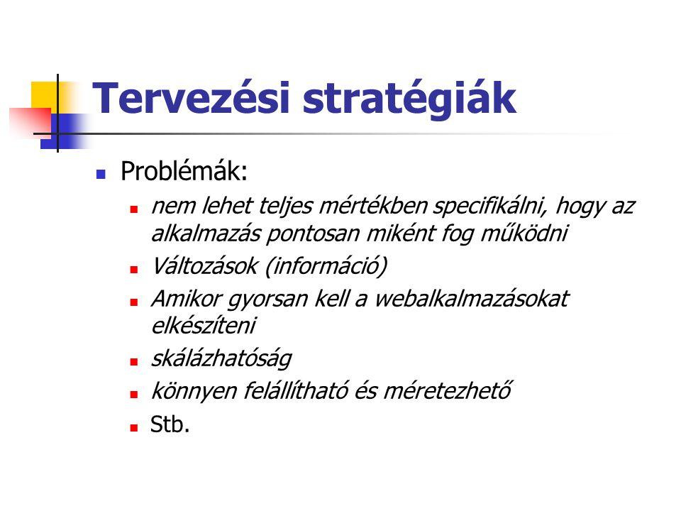 Tervezési stratégiák Problémák:
