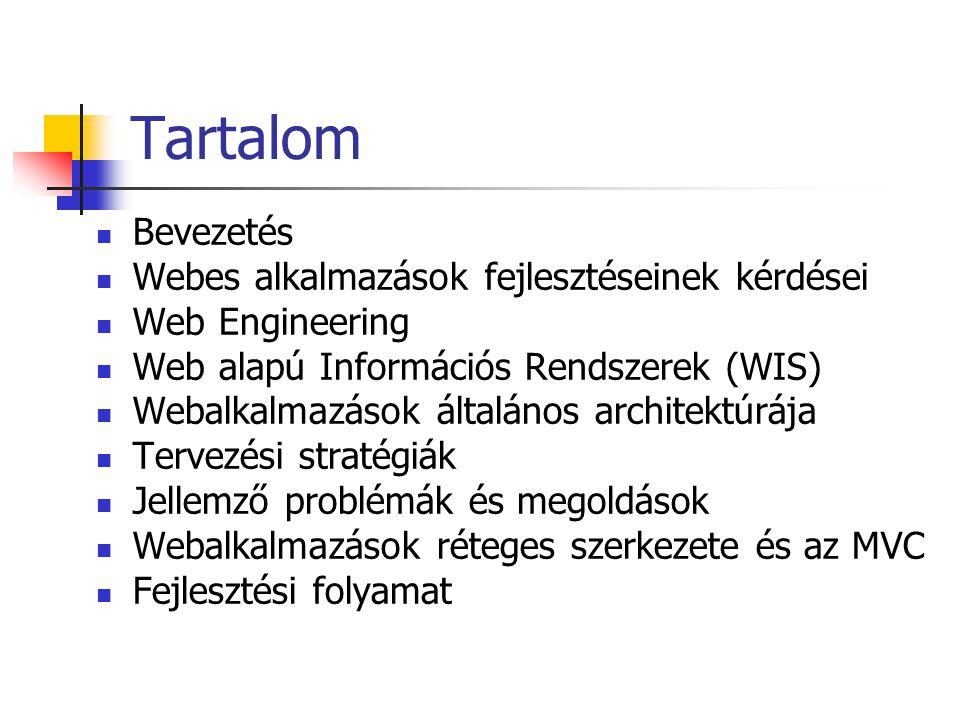 Tartalom Bevezetés Webes alkalmazások fejlesztéseinek kérdései