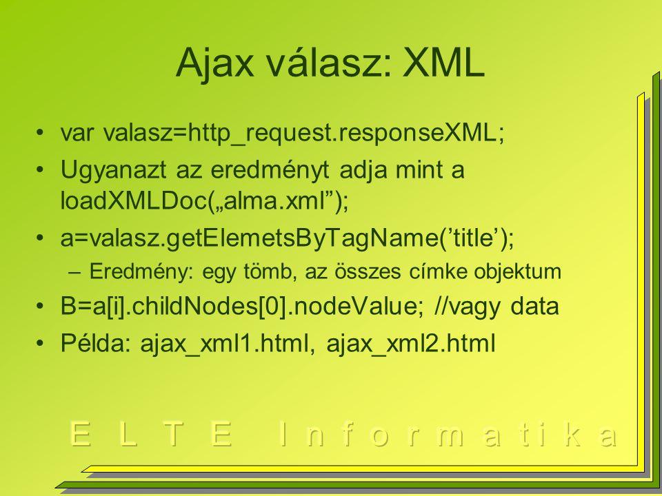 Ajax válasz: XML var valasz=http_request.responseXML;