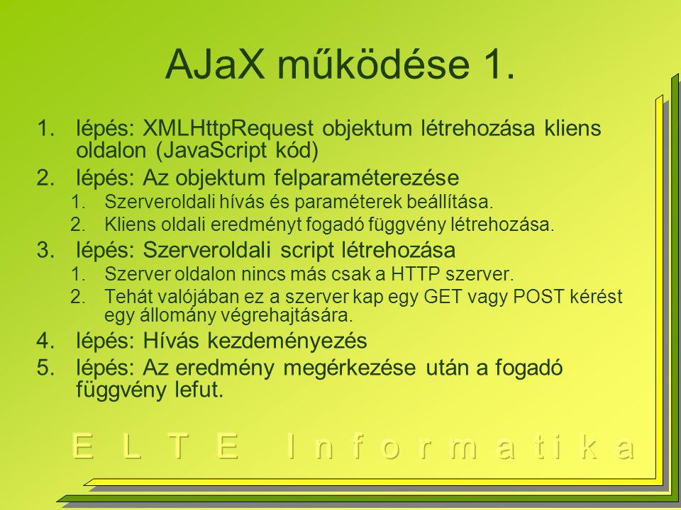 AJaX működése 1. lépés: XMLHttpRequest objektum létrehozása kliens oldalon (JavaScript kód) lépés: Az objektum felparaméterezése.