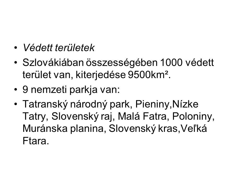 Védett területek Szlovákiában összességében 1000 védett terület van, kiterjedése 9500km². 9 nemzeti parkja van: