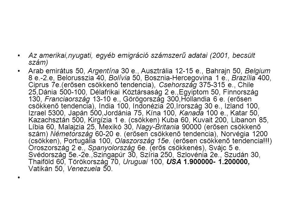 Az amerikai,nyugati, egyéb emigráció számszerű adatai (2001, becsült szám)