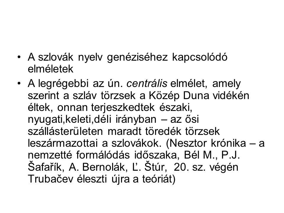 A szlovák nyelv genéziséhez kapcsolódó elméletek