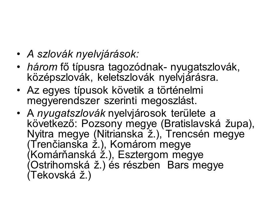 A szlovák nyelvjárások: