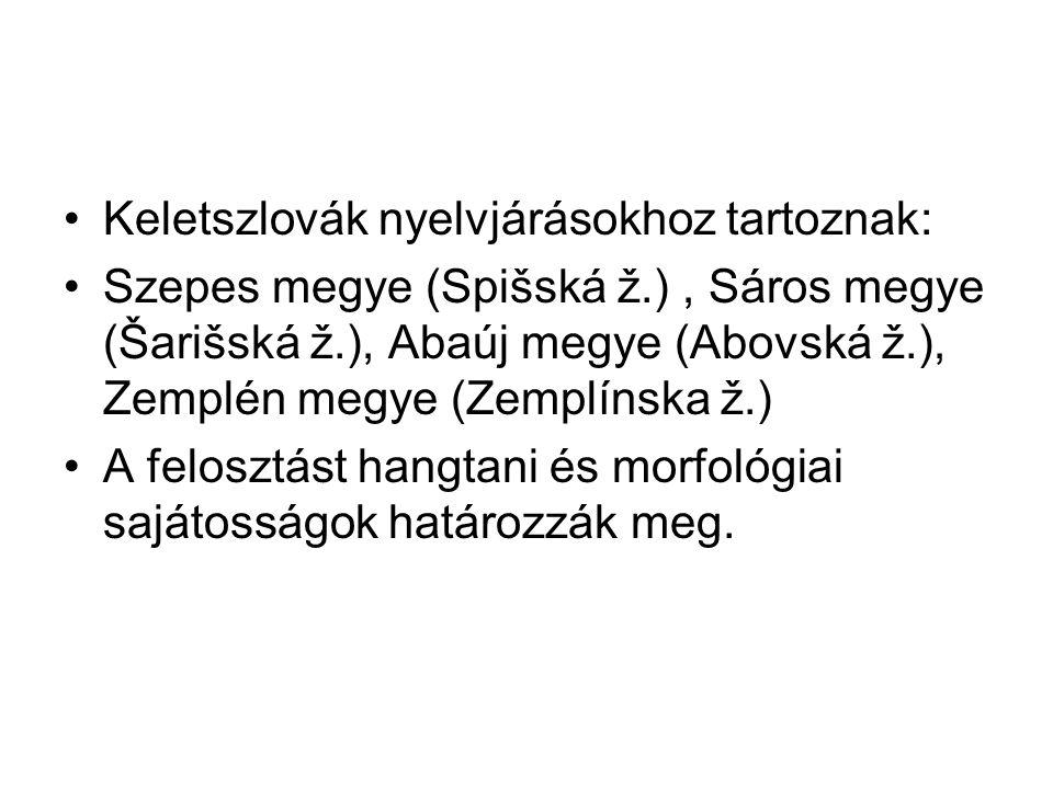 Keletszlovák nyelvjárásokhoz tartoznak: