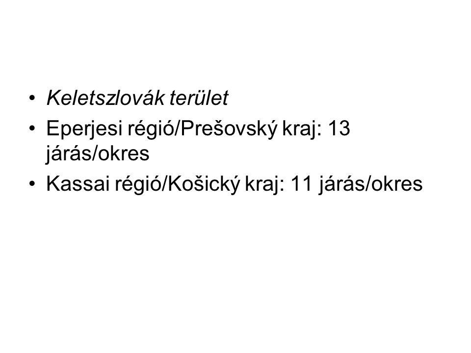 Keletszlovák terület Eperjesi régió/Prešovský kraj: 13 járás/okres.