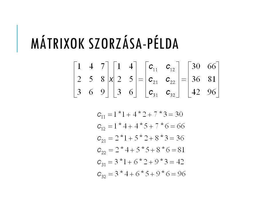 MÁTRIXOK SZORZÁSA-PÉLDA