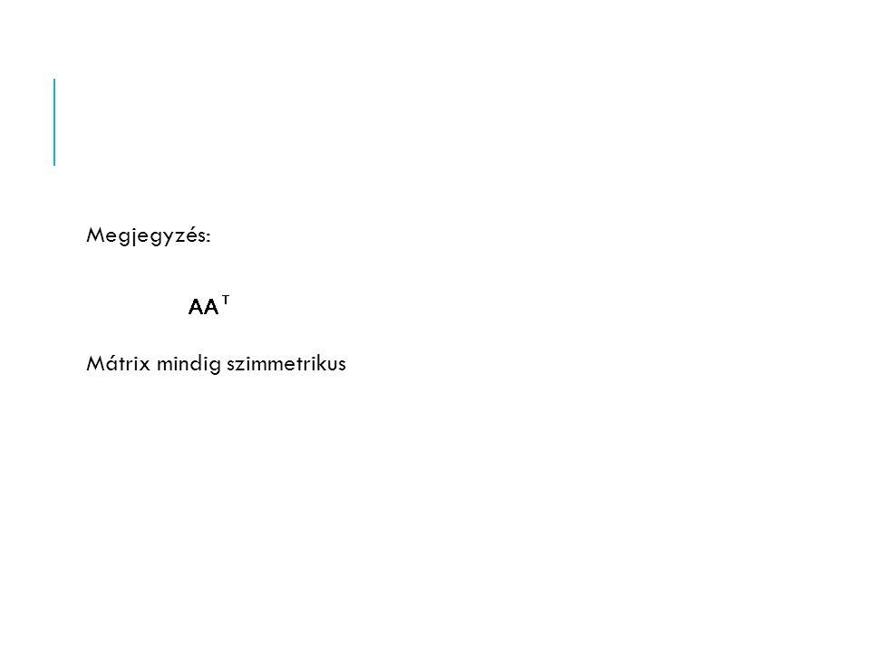 Megjegyzés: Mátrix mindig szimmetrikus