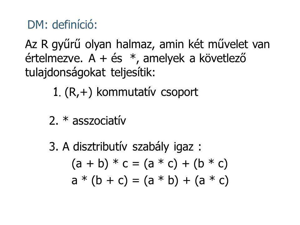 DM: definíció: Az R gyűrű olyan halmaz, amin két művelet van értelmezve. A + és *, amelyek a követlező tulajdonságokat teljesítik:
