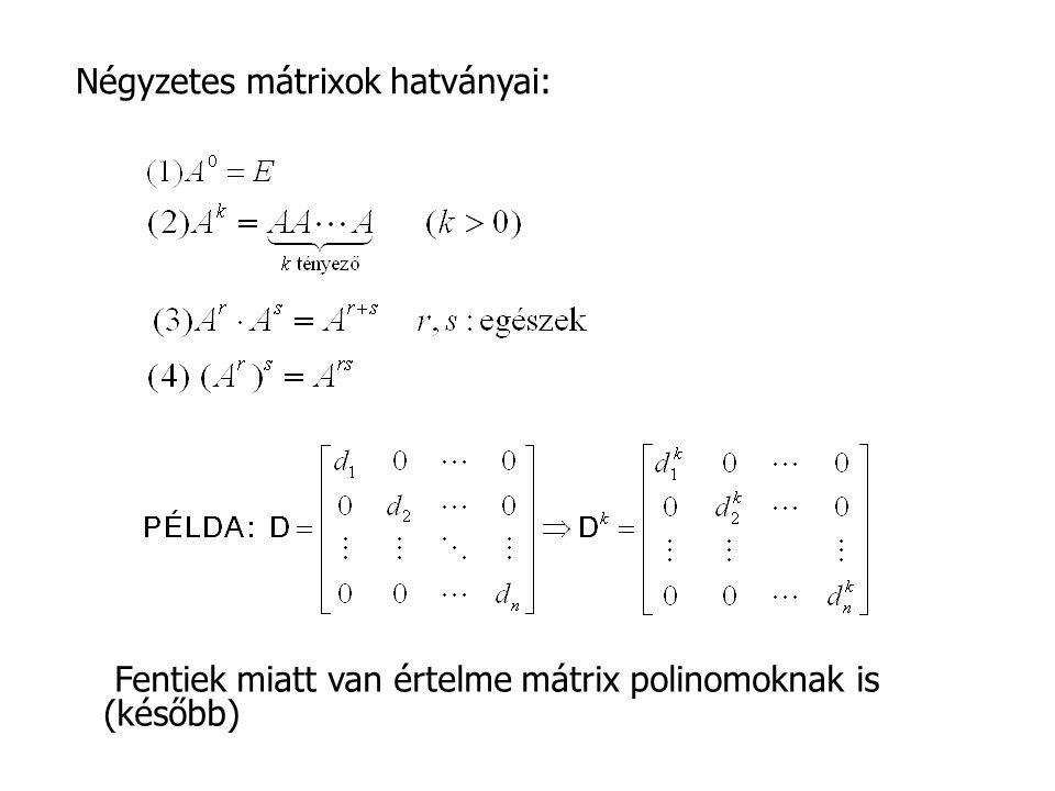 Négyzetes mátrixok hatványai: