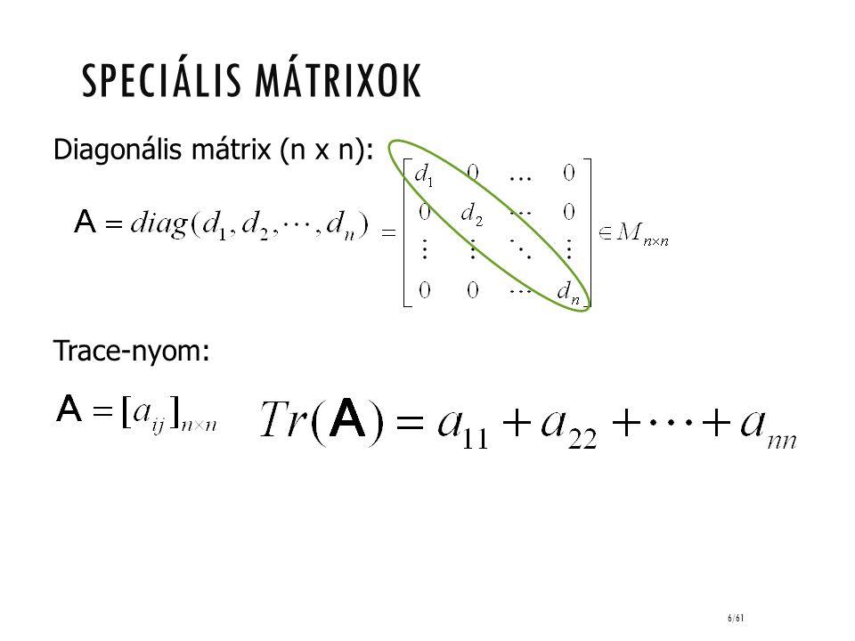 sPECIÁLIS MÁTRIXOK Diagonális mátrix (n x n): Trace-nyom: