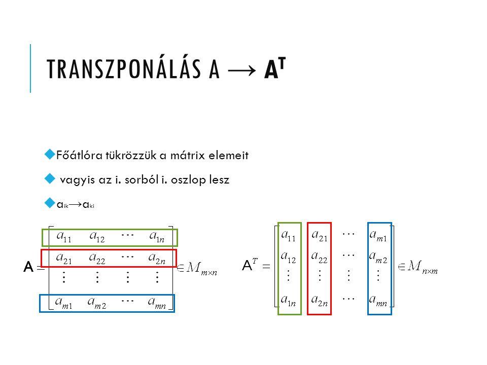 TRANSZPONÁLÁS A → AT Főátlóra tükrözzük a mátrix elemeit