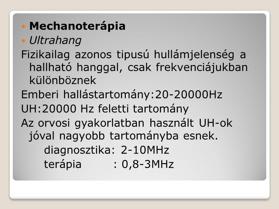 Mechanoterápia Ultrahang. Fizikailag azonos tipusú hullámjelenség a hallható hanggal, csak frekvenciájukban különböznek.