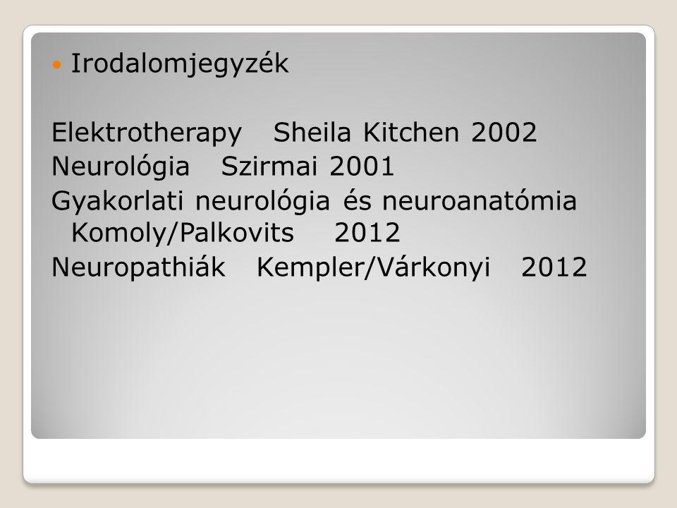 Irodalomjegyzék Elektrotherapy Sheila Kitchen 2002. Neurológia Szirmai 2001. Gyakorlati neurológia és neuroanatómia Komoly/Palkovits 2012.